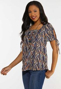 Plus Size Chevron Split Sleeve Top