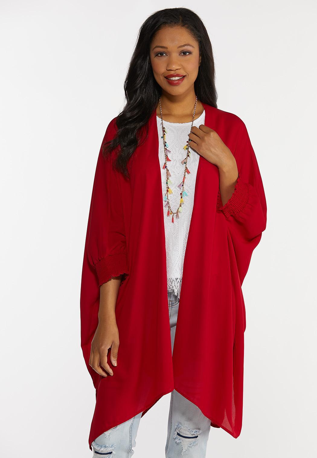 Smocked Sleeve Solid Kimono