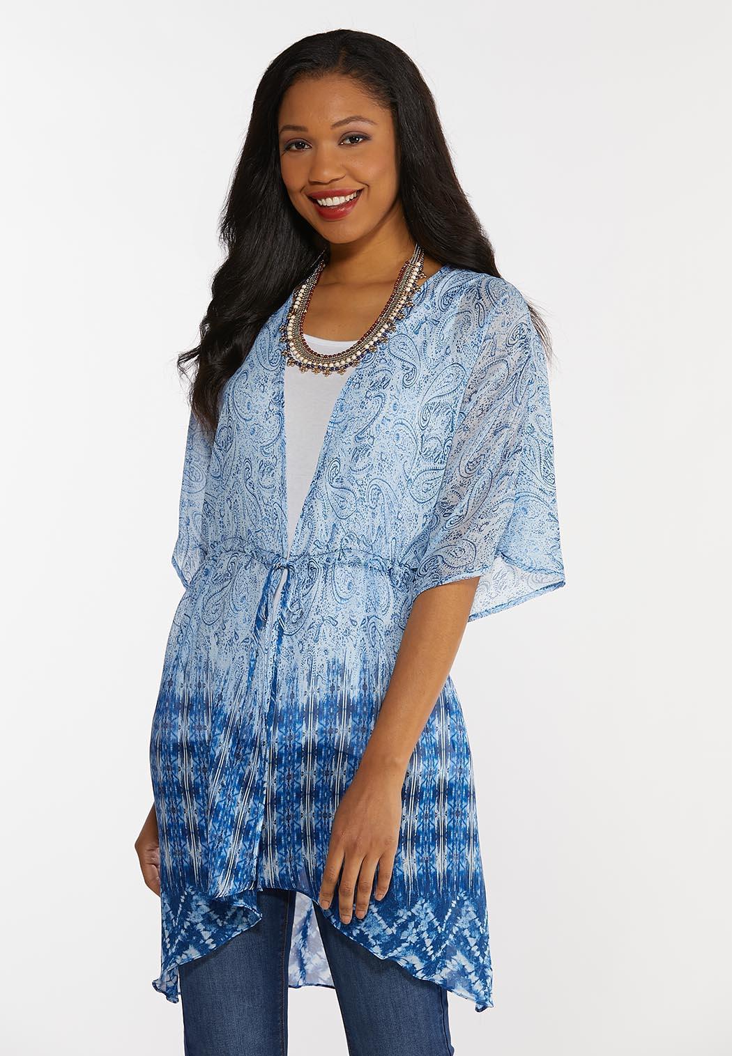 Plus Size Blue Paisley Kimono