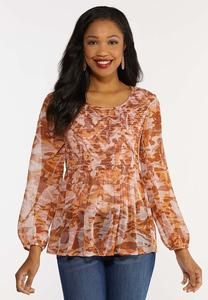 Plus Size Smocked Bodice Printed Top
