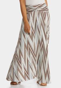 Plus Size Chevron Maxi Skirt