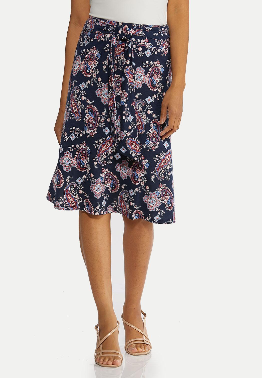 Plus Size Paisley Tie Front Skirt