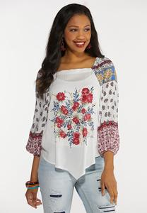 Plus Size Square Neck Mixed Floral Top