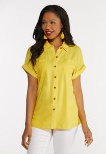 Plus Size Eyelet Pocket Collared Shirt