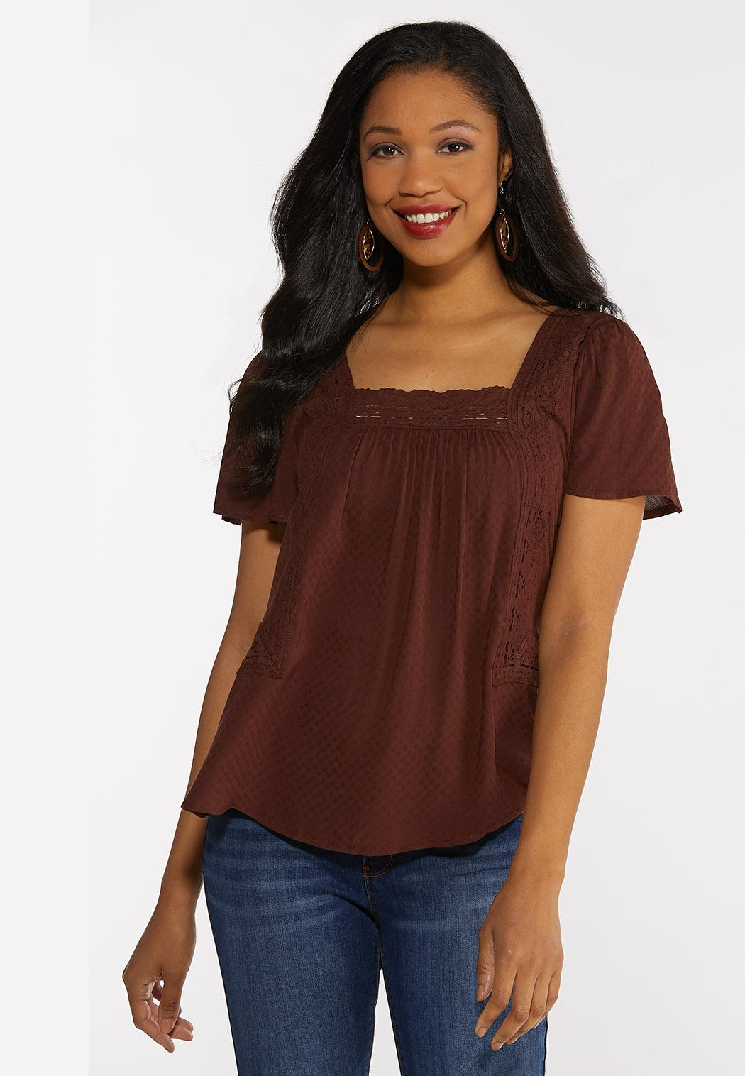 Plus Size Lace Square Neck Top