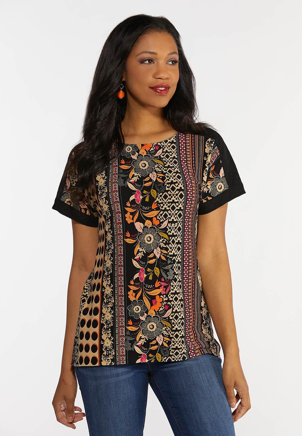 Crochet Shoulder Mixed Print Top
