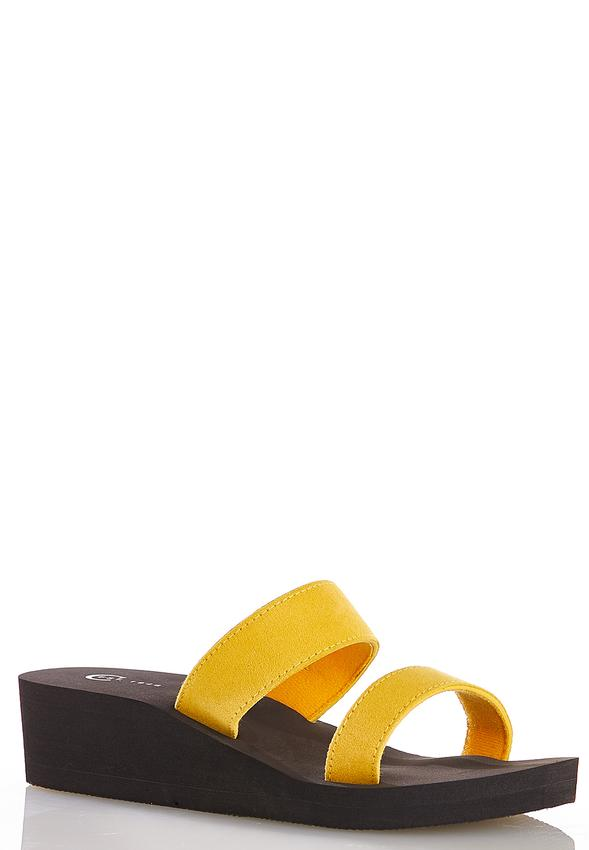 Two Band Wedge Sandals