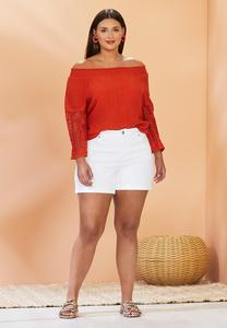 Plus Size White Denim Shorts