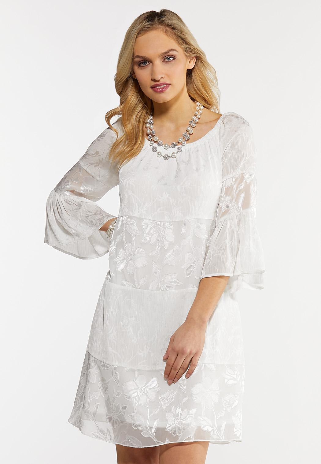 Plus Size White Peasant Burnout Dress