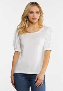 Plus Size Puff Ruffled Sleeve Knit Top