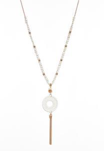 Pearl Strand Raffia Tassel Necklace