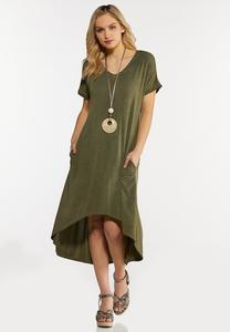 Plus Size Olive High-Low Dress