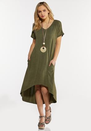 Plus Size Olive High- Low Dress
