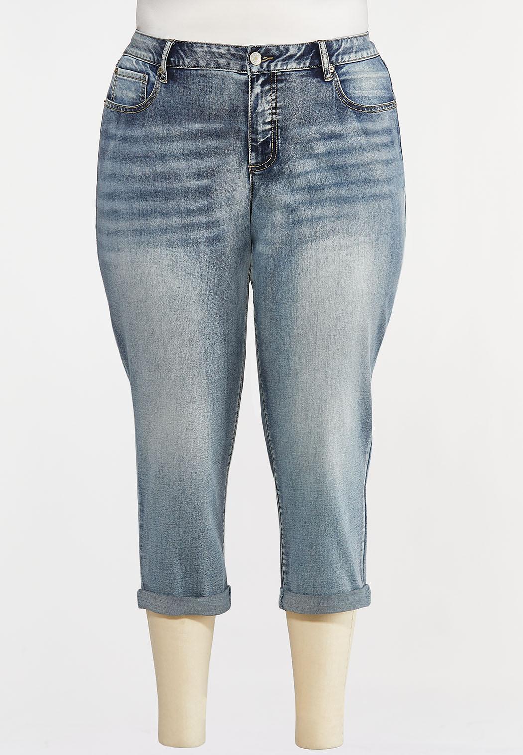 Plus Size Shape Enhancing Cropped Jeans