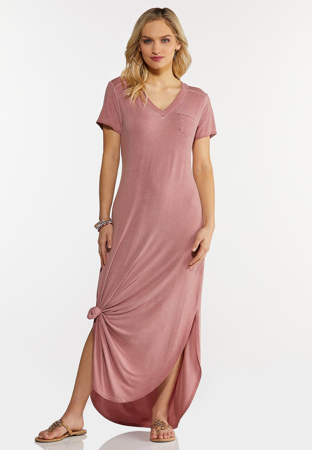 Plus Size Rose Knotted Maxi Dress