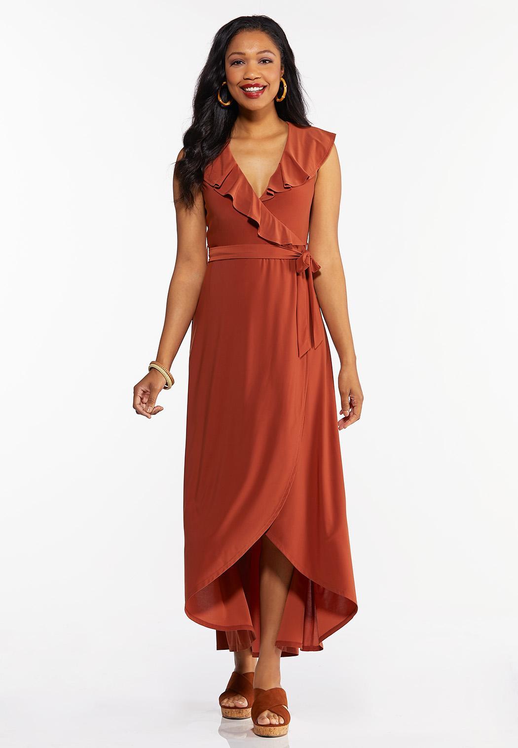 Petite Ruffle Neck Wrap Maxi Dress