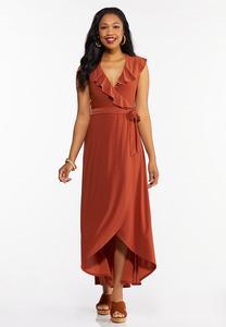 Plus Size Ruffle Neck Wrap Maxi Dress