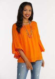 Plus Size Pom Pom Bell Sleeve Top
