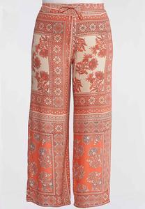 Plus Size Coral Floral Patchwork Pants