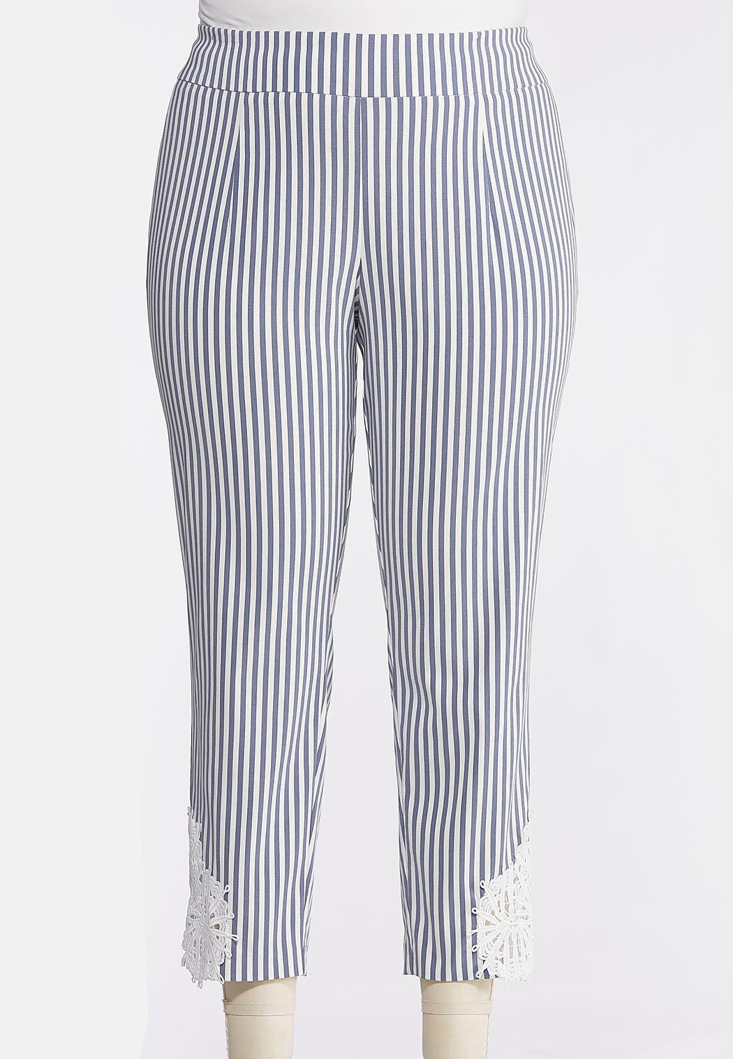Plus Size Striped Crochet Hem Pants