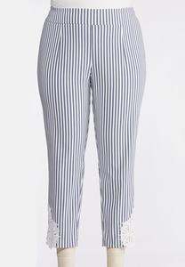 Plus Size Striped Crochet Hem Pants