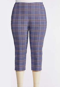 Plus Size Blue Plaid Bengaline Pants