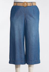 Plus Size Belted Chambray Cropped Pants