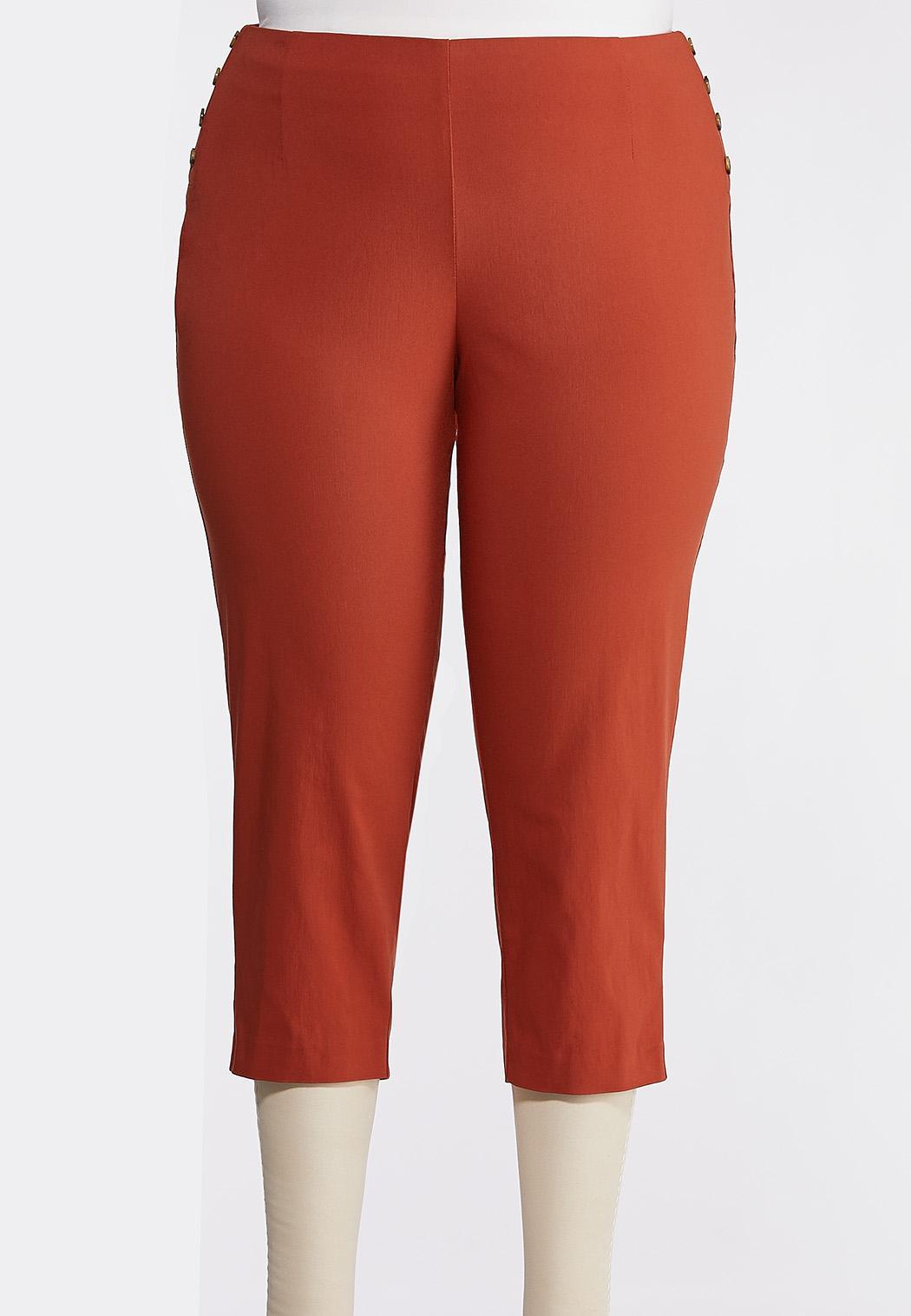 Plus Size Cropped Tortoise Button Pants