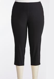 Plus Size Metal Snap Cropped Pants