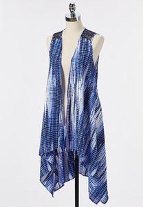 Plus Size High-Low Lace Trim Vest