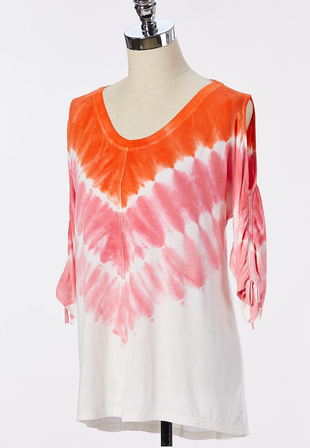 Plus Size Sunset Tie Dye Top