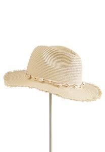 Shell Embellished Straw Hat