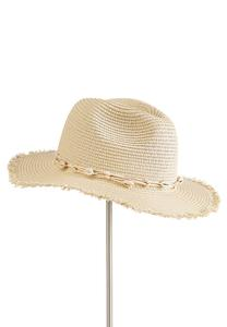 Shell Embellished Straw Hat