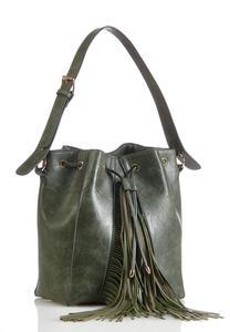 Fringe Front Bucket Handbag