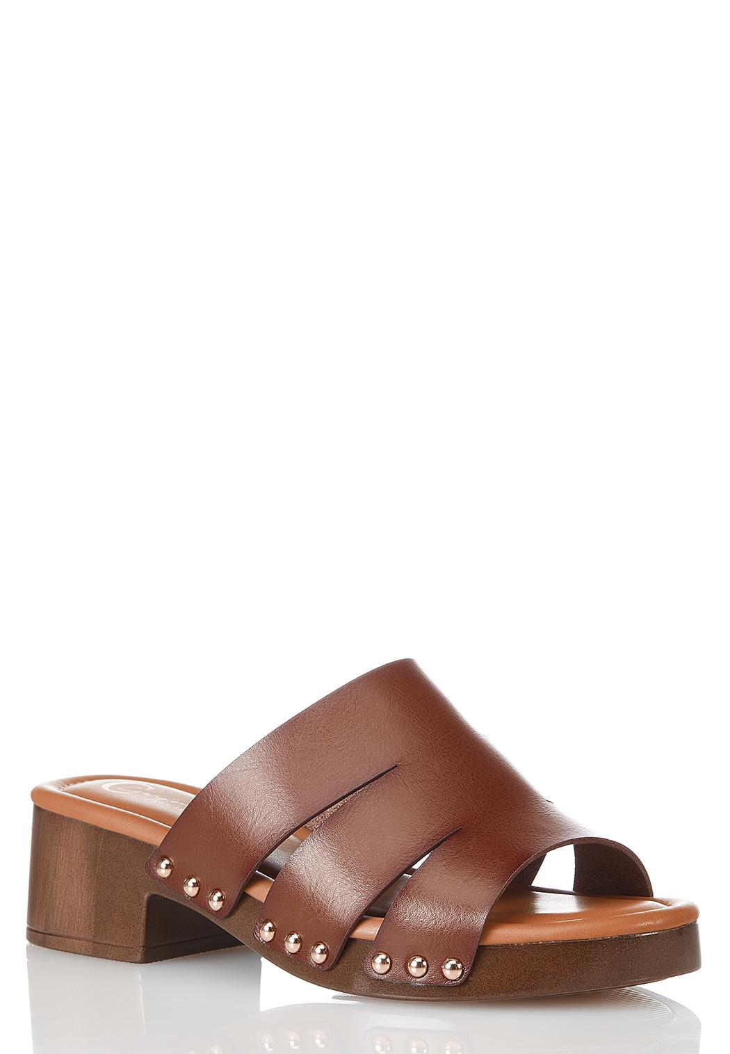 Wide Width Studded Faux Leather Sandals
