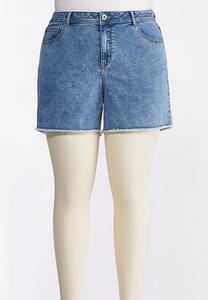 Plus Size Acid Wash Denim Shorts