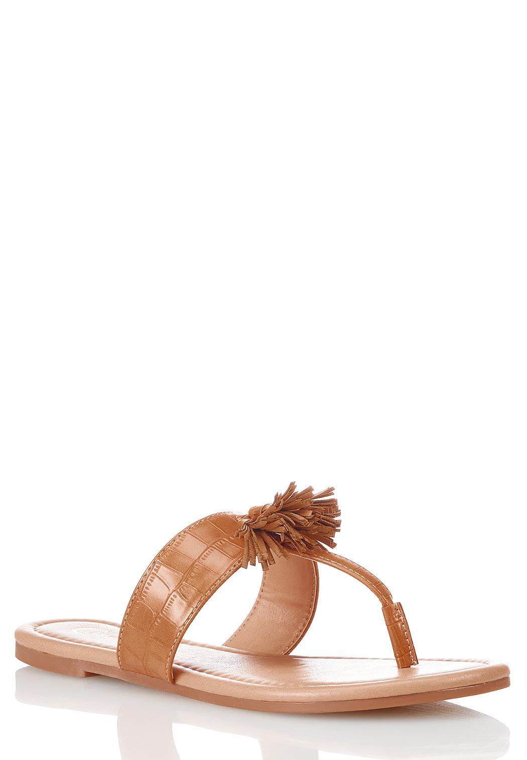 Croc Tasseled Thong Sandals