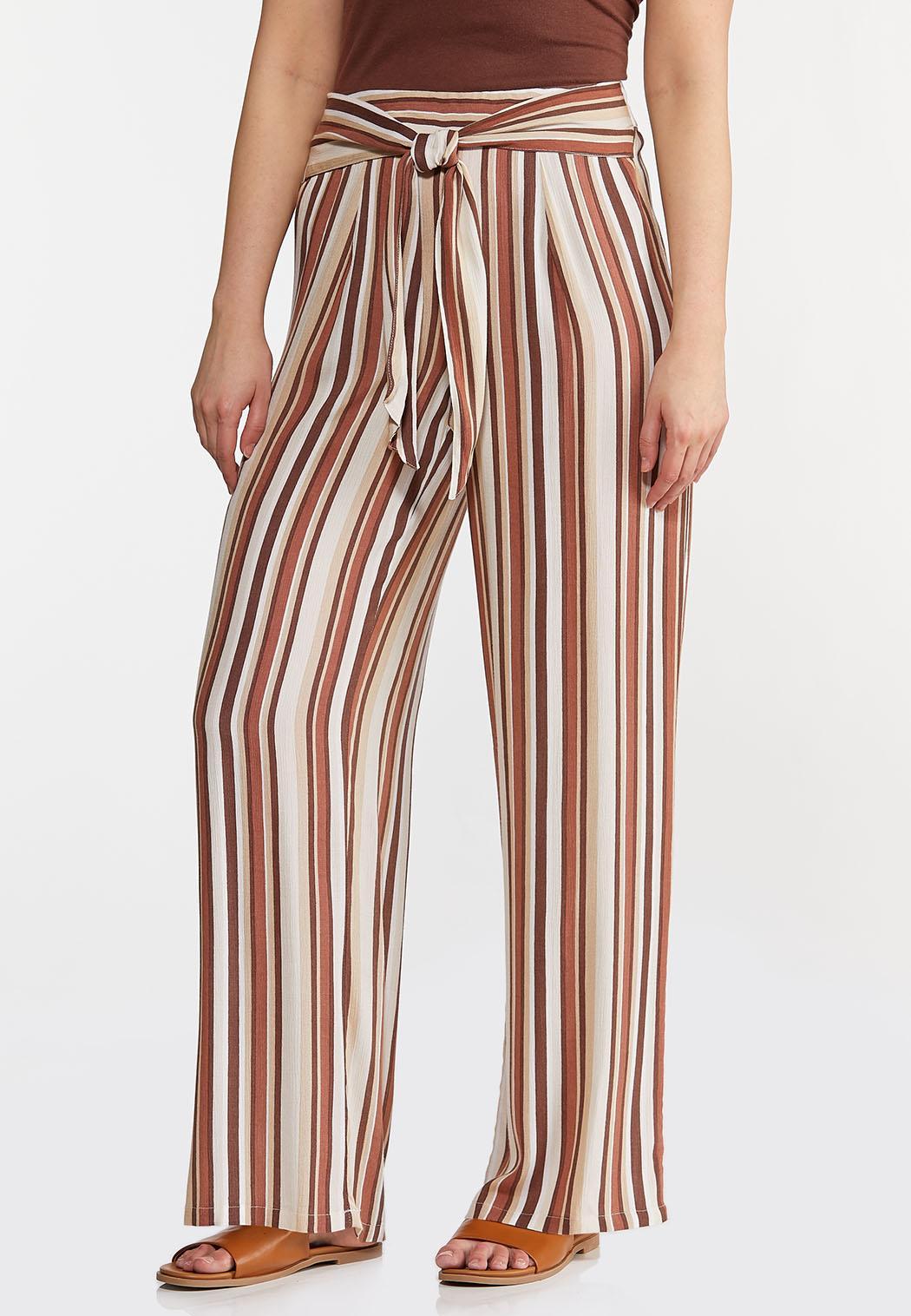 Gauzy Tie Waist Stripe Pants