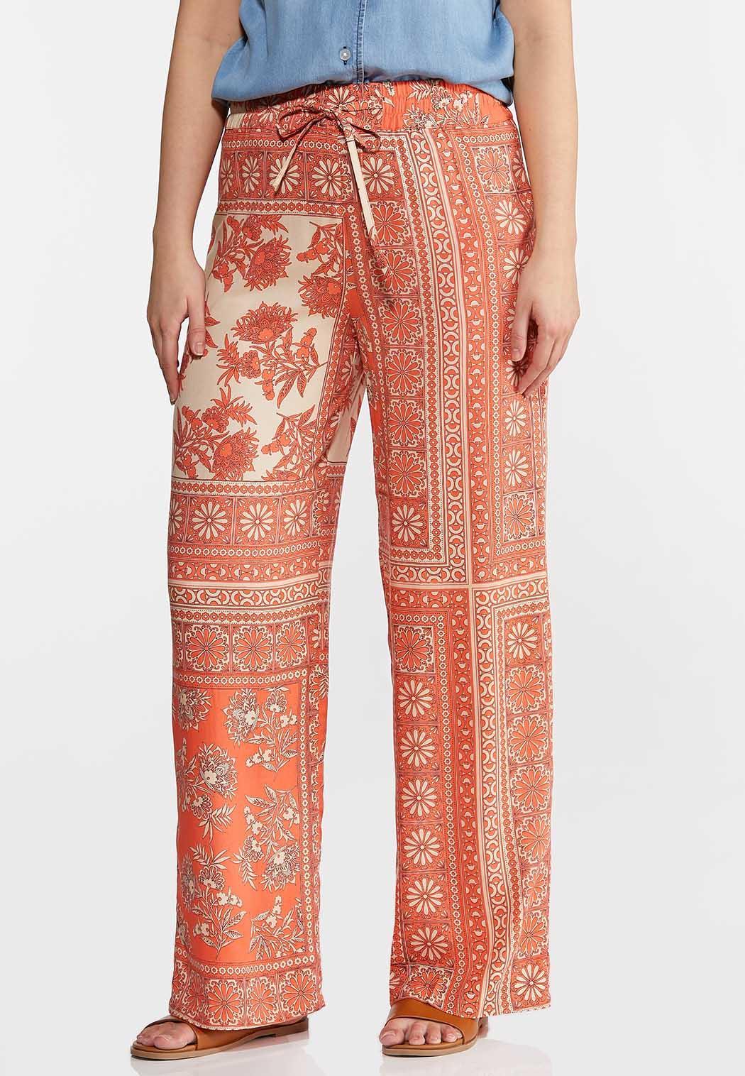 Coral Floral Patchwork Pants