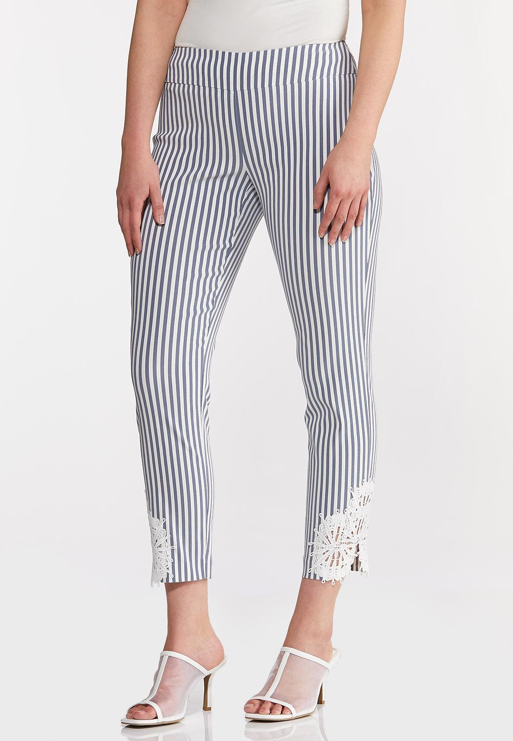 Striped Crochet Hem Pants