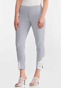 Striped Crochet Hem Pants