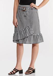 Belted Gingham Wrap Skirt