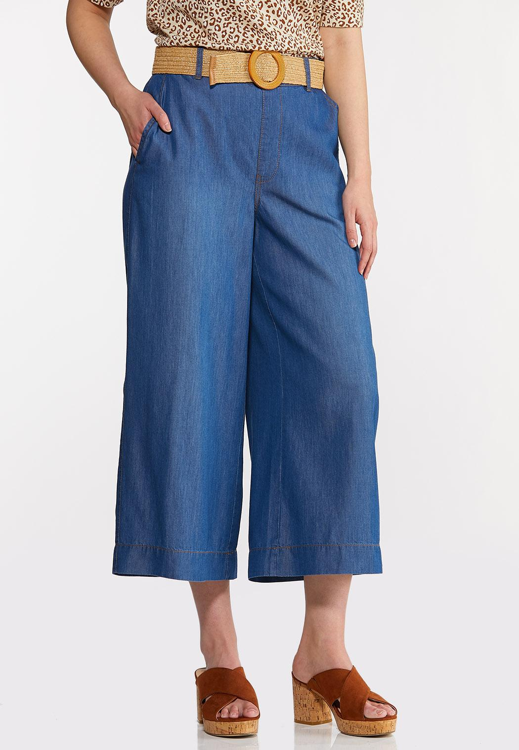 Belted Chambray Cropped Pants
