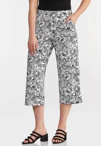 Cropped Sketch Floral Pants