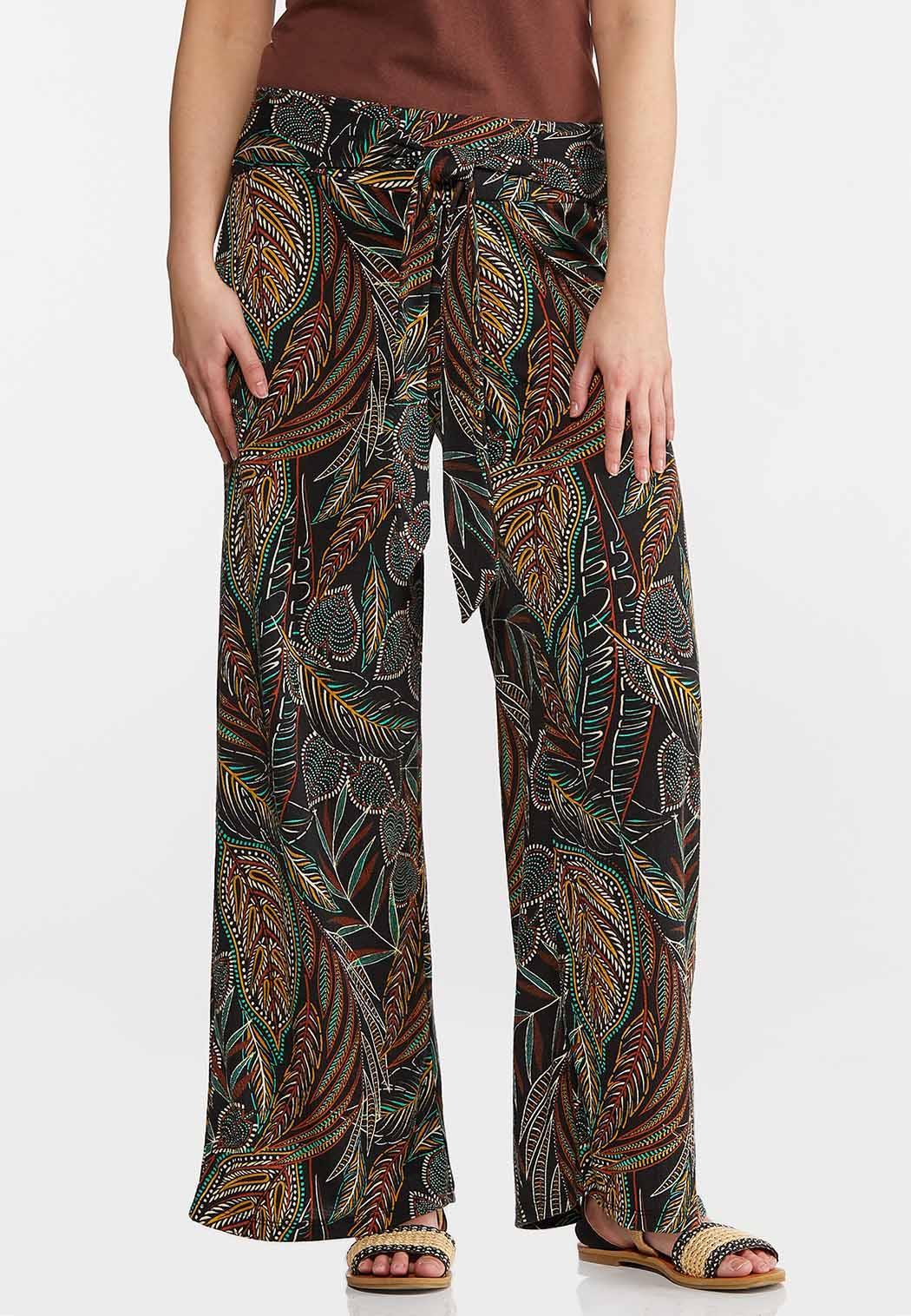 Jungle Leaf Wide Leg Pants