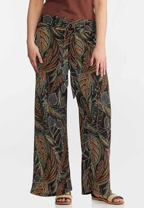 Petite Jungle Leaf Wide Leg Pants