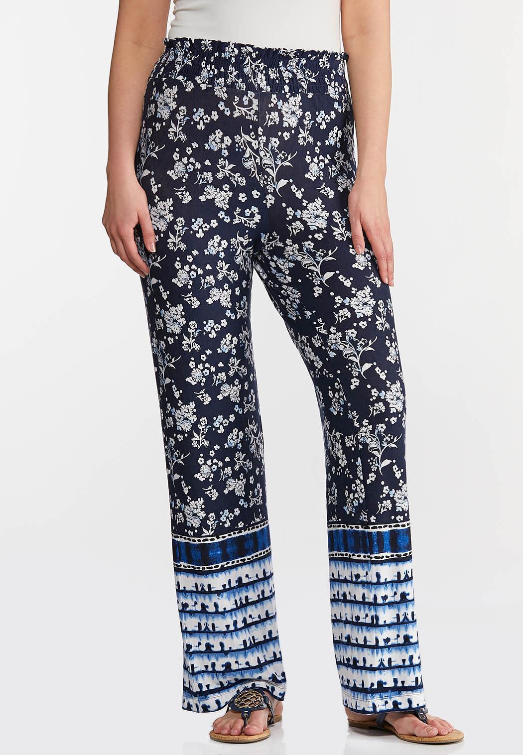 Floral Tie Dye Panel Pants