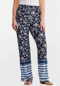 Petite Floral Tie Dye Panel Pants