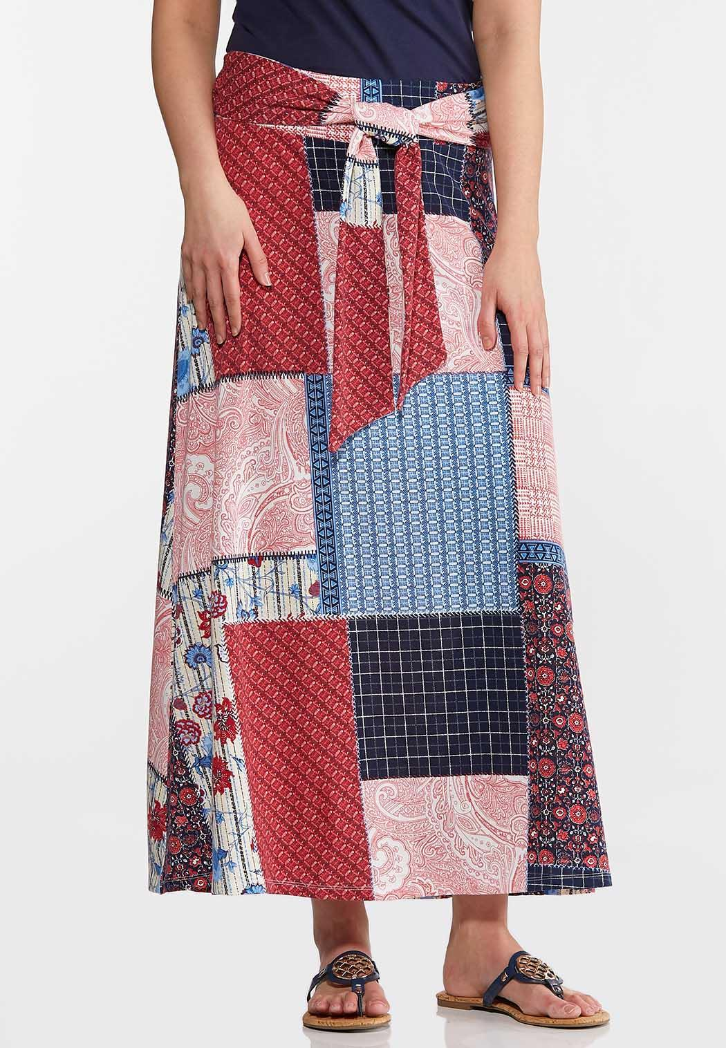 Patchwork Tie Front Maxi Skirt