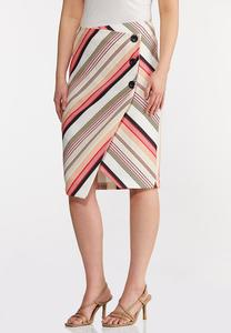 Button Raspberry Stripe Skirt